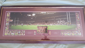 STATE OF ORIGIN DARREN LOCKYER SIGNED FRAMED RARE Springfield Lakes Ipswich City Preview