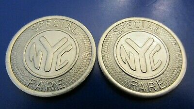 Nyc Subway Token (2 NYC SUBWAY TOKENS SPECIAL FARE AQUEDUCT RACETRACK TRANSIT BU GEMS+++++ )