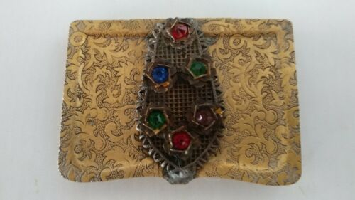 Antique Vintage Czech or Austrian Jeweled Trinket Box Calling Card Case Vesta