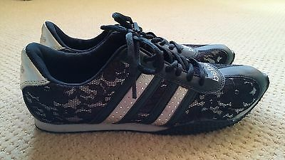 NWOT BEBE women's Sporty fashion shoes RHINESTONE and LACE black silver size 8.5