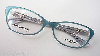 Damen Kunststoffgestell türkis Vogue Federbügel Marken- Brillen 54-16 Grösse M