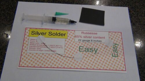 Sterling Silver Solder wire and flux  Easy melt  jewelry repair kit. 8 inch 22ga