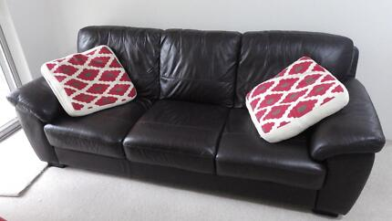 Nick Scali 3 Seater chocolate leather couch Lane Cove North Lane Cove Area Preview