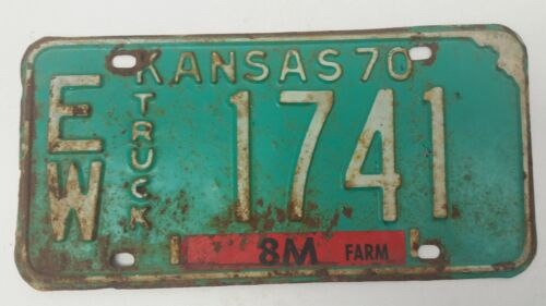 1970 KANSAS Ellsworth County Truck License Plate EW 1741