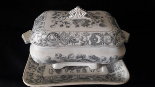 3 Pc ANTIQUE 1880 CLYDE POTTERY MAYFLOWER TUREEN~LID~LINER~CELESTIAL