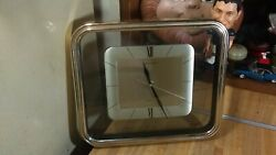 Heirloom Quartz Rectangle Chime Wall Clock,12x11,works great,rare,gd!