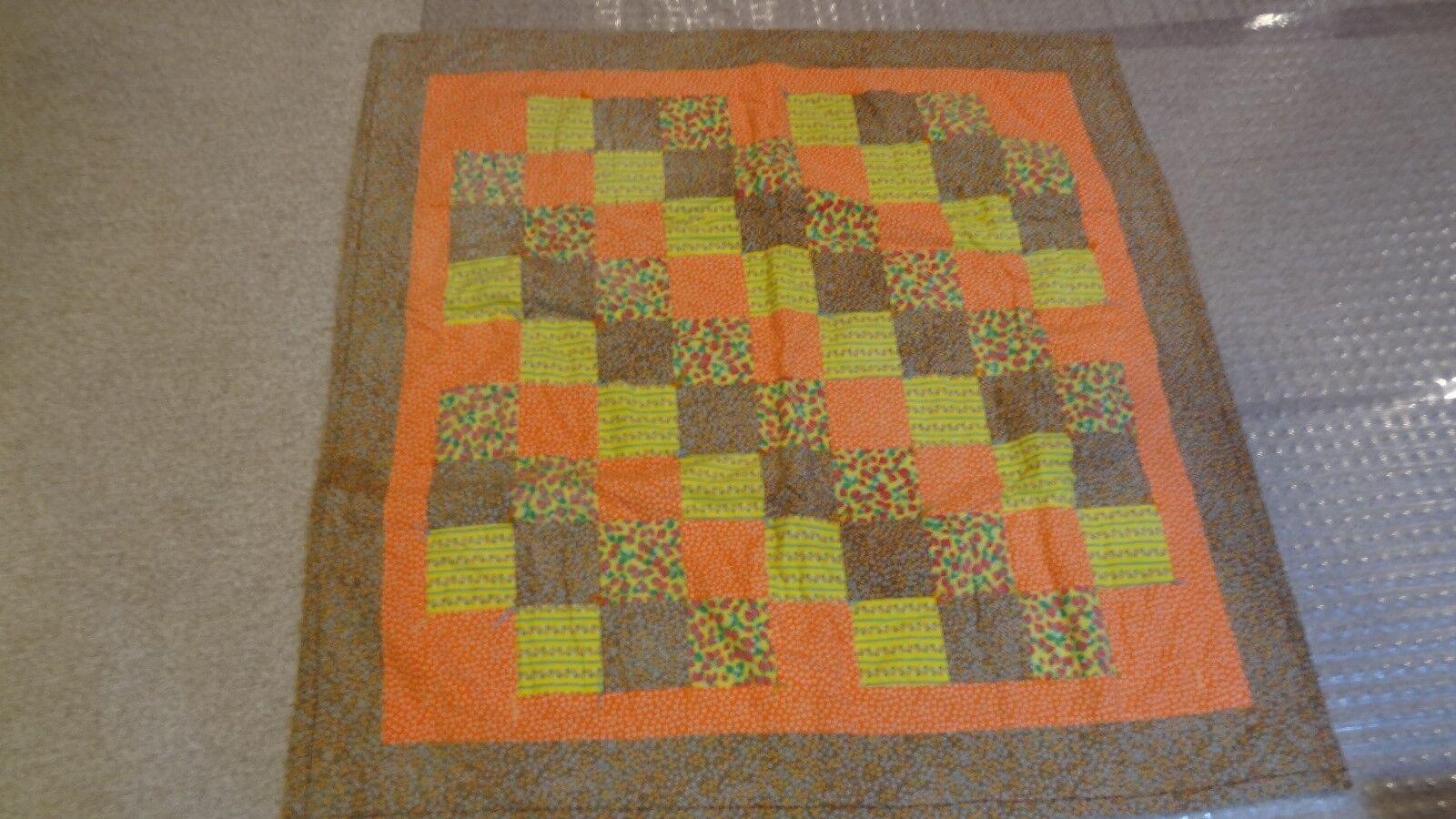 Handmade Machine Stitched Yellow Orange Checker Board Baby Quilt 44 x 44