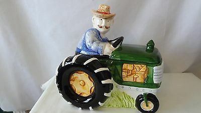 Tractor Farmer In The Dell With Music Box Cookie Jar #G251