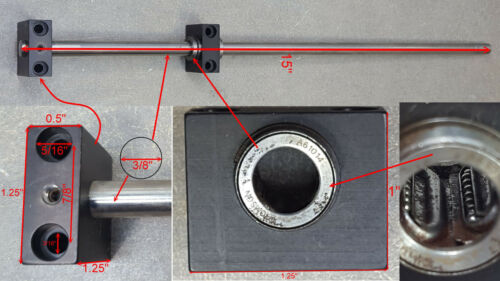 "Thomson slide, 1 ends, round shaft, 3/8"" diameter, 15"" length, (1) A61014 blocks"