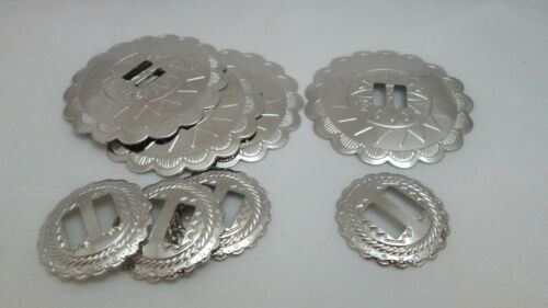 "Poetic Spirit Slotted Round Nickle Conchos 4 each 1"" & 2"""
