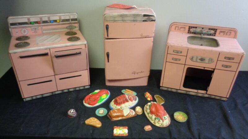 Vintage Wolverine Coronado Litho Tin Metal Toy Kitchen Pink 3-Piece Set