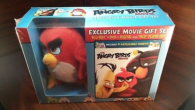 The Angry Birds Movie Giftset(Blu-ray/DVD+Digital+Red Plush Doll)NEW-Free S&H