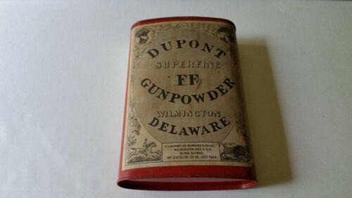 Dupont Superfine FF Gunpowder Old Can Tin Black Powder Wilmington Delaware 1924