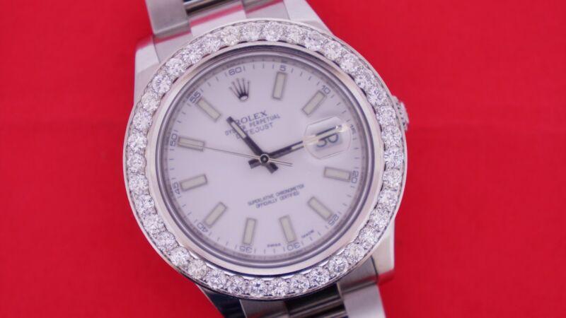 Rolex DateJust 2 II 41mm Watch 5.00 Carat Diamond Bezel Beautiful Quality Deal!!