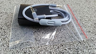 3.5mm Audio Cable/ L Cord/ for Beats by Dr Dre Headphones Aux & Mic GRAY COLOR
