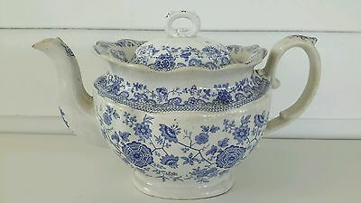 Antique c.1850s TEA POT Light BLUE TRANSFERWARE Staffordshire Ironstone Vintage
