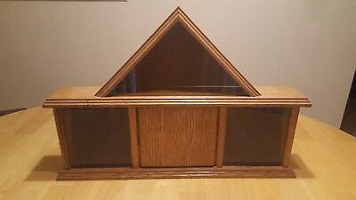 SOLID OAK MILITARY FLAG MEDALS RIBBONS SHADOW BOX DISPLAY CASE REAL GLASS