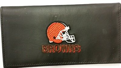 Embroidered Leather Checkbook Cover - NFL Cleveland Browns Genuine Leather Checkbook Cover, New (Embroidered Logo)