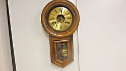 Vintage Regulator Schoolhouse Style Chiming Wood Wall Clock-Leaf Pendulum-AS IS