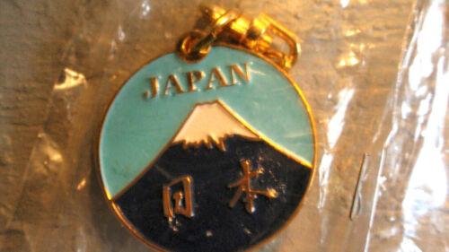 JAPAN SOUVENIR KEY Chain -  MT FUJI - ENAMEL & BRASS