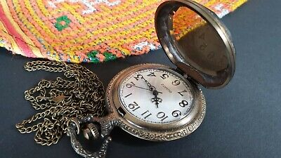 Old Bronzes Tone Quarts Pocket Fob Watch & Necklace Chain  …beautiful accent pie