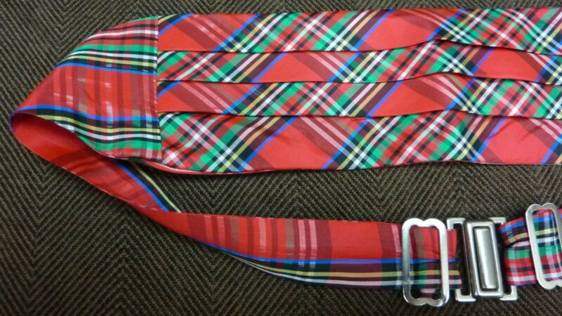"Child's Formal Wedding Cummerbund / Multicolored / Tartan Plaid / 28"" – 33.5"""