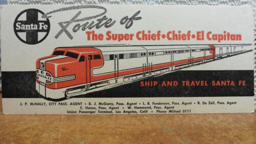 RAILROAD BLOTTER AT&SF SANTA FE ROUTE OF THE SUPER CHIEF, 3 LINES