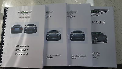 ASTON MARTIN V12 VANQUISH 01-07 PARTS WORKSHOP & OBD MANUAL SET REPRINTED