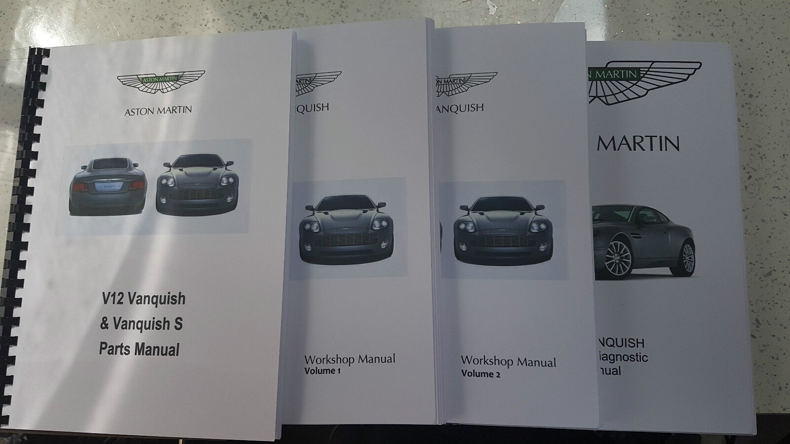 aston martin v12 vanquish 01-07 parts workshop & obd manual set