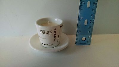 2 Inch Small Tiny Coffee Cup and Saucer with Candle Inside - cafe latte Mocha