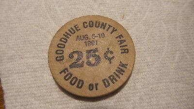 Vintage Advertising Wooden Nickel Goodhue County Fair Minnesota 1991