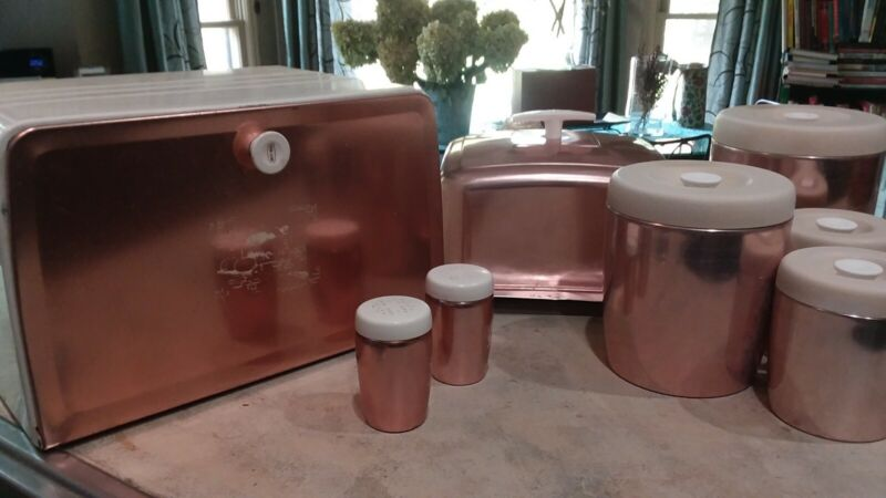 Vintage Westbend Pink copper spun aluminum Canisters shakers bread box cake MCM