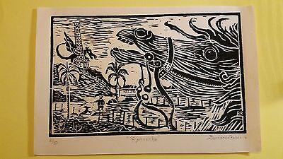Rocinante Horse Original Woodblock Print signed by Bernardo Rosado