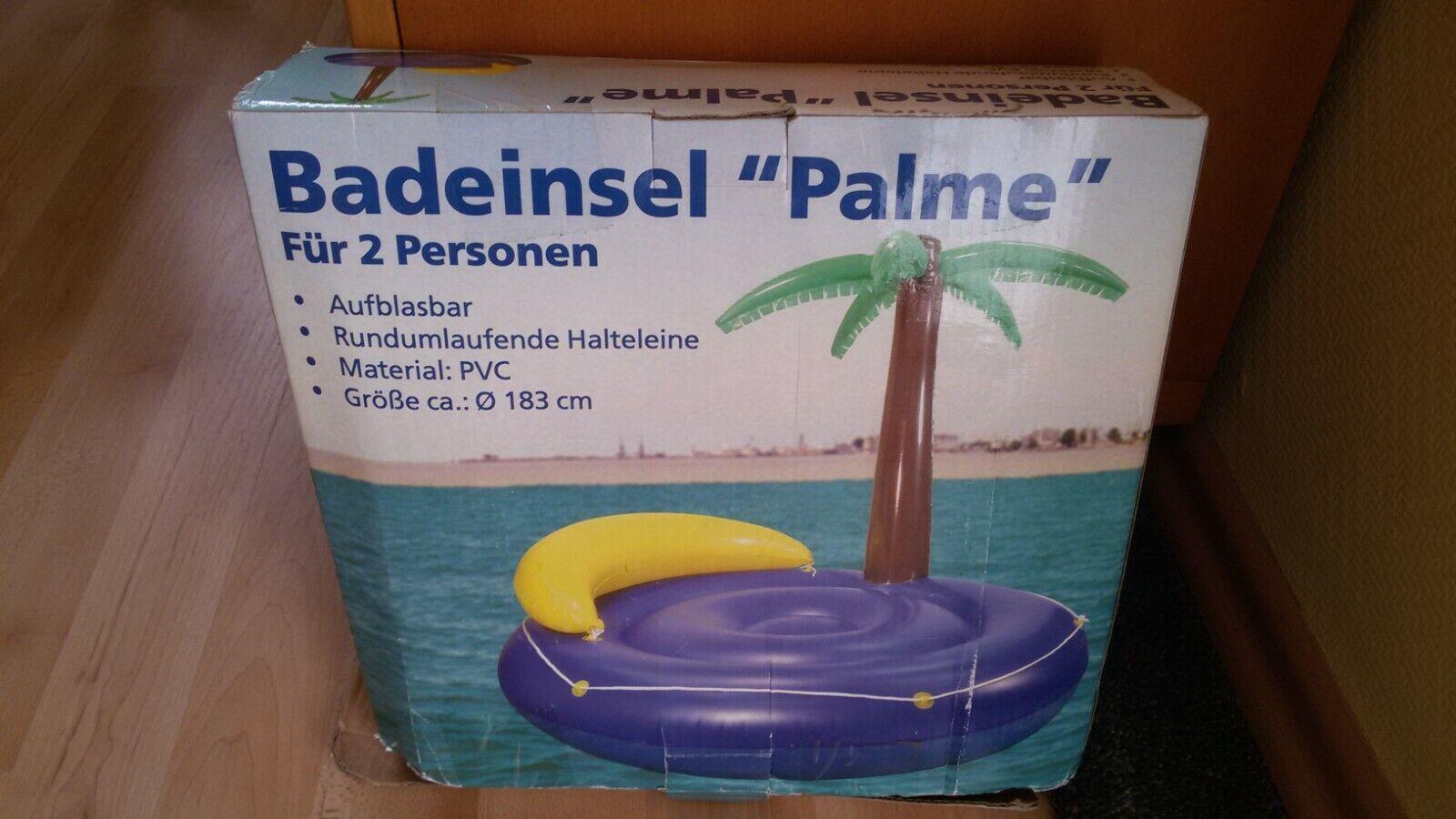 Bade Insel Palme 2 Personen 183 cm Strand Terrasse Luftmatratze Wasserspielzeug