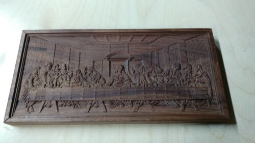 Handcrafted Wood Carving Last Supper - Solid American Walnut - Christian Plaque