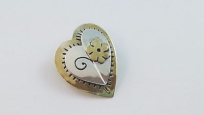 Sterling Silver & Brass Heart & Flower Pin or Brooch 1.13 Inches FREE SHIPPING
