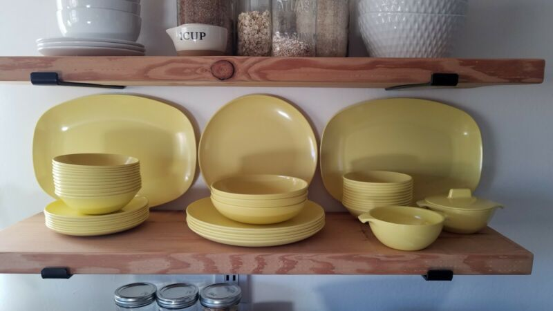 Vintage Yellow Marcrest Watertown MCM Dishes Melmac Melamine 43 pcs