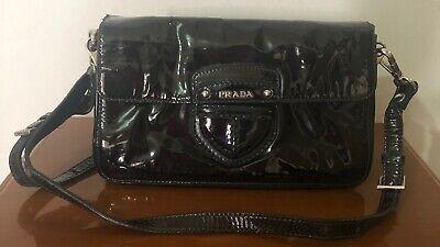 Prada Shiny Leather crossbody bag black vintage shoulder bag