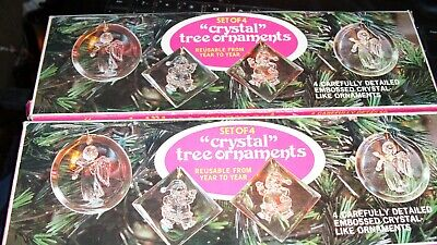 Set Of 8 Embossed crystal like Ornaments Christmas santa angel snowman  Giftco ()