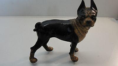 """ANTIQUE ORIGINAL 9""""  HUBLEY CAST IRON BOSTON BULL TERRIER DOG DOORSTOP"""