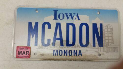 2008 IOWA Monona County License Plate MCADON