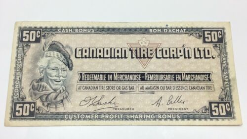 1961 Canadian Tire 50 Fifty Cents CTC-S1-E Circulated Money Banknote E062