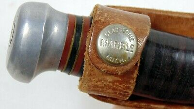 Vintage Marbles Gladstone Fixed Blade Hunting Skinning Knife With Sheath 1916