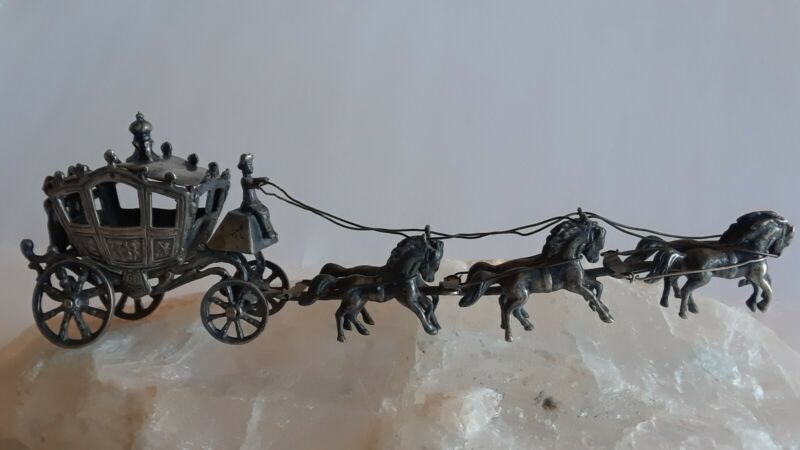 ANTIQUE GERMAN HANAU 800 SILVER ROYAL CARRIAGE SIX HORSES MINIATURE HALLMARKS
