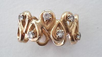 18K Yellow Gold Teardrop Shapes Wide Band Ring w / Diamonds Chopard Pushkin Copy