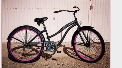 "26"" Women's Single Speed Bicycle, Colby Cruiser Bettie Bike, Black / Pink Rims"
