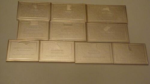 Franklin Mint --Ten  Different  State Sterling Silver Ingots