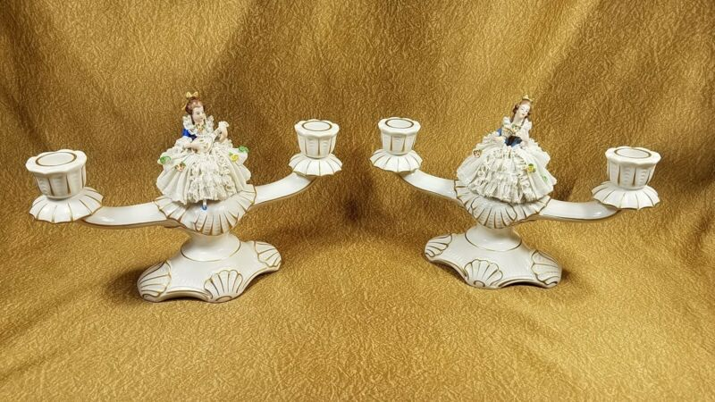 Pair Franz Wittwer Dresden Porcelain Elegant Women Figurine Candleholders UNIQUE