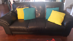 Black leather 2 seater and 3 seater couch set Nicholls Gungahlin Area Preview