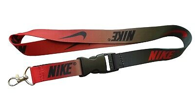 Nike black/red ombre lanyard w/ detachable buckle - clip for keys or id badges (Red Lanyards)